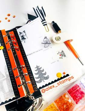 Halloween Planner Stamping using Fun Stampers Journey